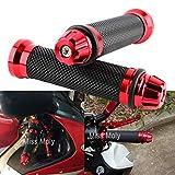 Empuñadura de Manillar de Motocicleta de 7/8' 22mm, Antideslizante Caucho Empuñaduras de Moto Manillar (Rojo)