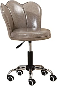 ZHJBD Furniture Stool Computer Chair Back Support Swivel Chairs Chair with Wheels Adjustable Home Office Desk Chairs Leather Living Room Chairs Gray