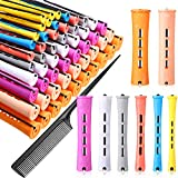 80 Pieces Hair Perm Rods 8 Sizes Plastic Perming Rods Curling Roller Rods Cold Wave Rods with Parting Rat Tail Comb for Women Girls Hair Hairdressing Styling Tools