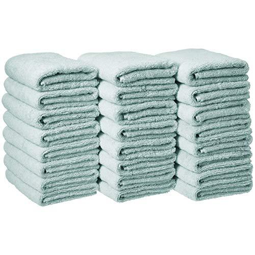 Amazon Basics - Toallas de mano (algodón, 24 unidades), color azul