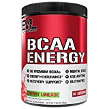 Evlution Nutrition BCAA ENERGY– Essential BCAA Amino Acids & Energizers for Anytime Energy, Performance, Immune Support, Muscle Building, Recovery, Vitamin C & B, Pre Workout, 30 Serve, Cherry Limeade