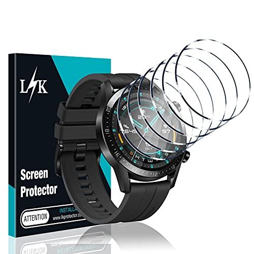 LϟK 6 Pack Protector de Pantalla Compatible con Huawei Watch GT2 46mm (No para GT 2 Pro) - Cristal Vidrio Templado - Dureza 9H Sin Burbujas Sin Bordes Elevados Kit Fácil de Instalar