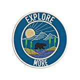 Explore More Mountain Bear Sunrise Scene Embroidered Premium Patch DIY Iron-on or Sew-on Decorative Badge Emblem Vacation Souvenir Travel Gear Clothes Appliques