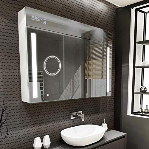 Artforma Spiegelschrank mit LED Beleuchtung 3-Türig anpassen (100 x 72 x 16,6 cm) | 17 Dekore | Badschrank | Beleuchtet Badezimmerschrank | LED Farbe und Zubehör zur Auswahl