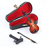 Dselvgvu Wooden Miniature Violin with Stand,Bow and Case Mini Musical Instrument Miniature Dollhouse Model Home Decoration (3.94'x1.57'x0.63')