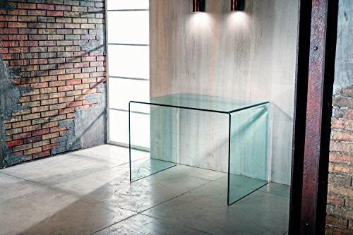 IMAGO FACTORY Scriba Schreibtisch für Büro und Zuhause – Brücke aus gebogenem Glas, Schreibtisch aus transparentem Glas, Schreibtisch für Computer, Schreibtisch zum Lernen, modernes Design