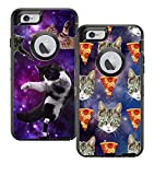 Teleskins Protective Designer Vinyl Skin Decals/Stickers for Otterbox Defender iPhone 6 Plus/iPhone 6S Plus Case - Cats Flying Space Hipster and Galaxy Hipster Cat Pizza Pattern [Pack of 2 Skins]