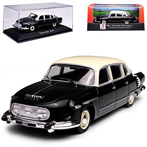 Atlas Tatra 603 Limousine Schwarz Weiss 1956-1975 mit Sockel und Vitrine 1/43 Modell Auto