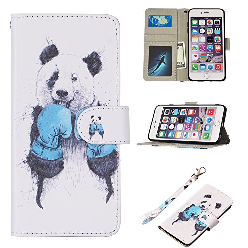 UrSpeedtekLive iPhone 6S Plus Case, iPhone 6 Plus Case, Premium PU Leather Flip Wallet Case Cover with Card Slots Holder & Stand for Apple iPhone 6s Plus/6 Plus, Boxing Panda
