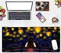 マウスパッド 漫画の女の子のマウスパッド 大型ゲーム用マウスパッドコンピューターのキーボードパッド耐久性のある滑らかな表面のマイクロファイバーマウスパッド-(C)_90X40Cm