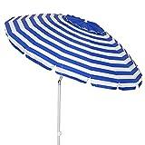 Sombrilla Playa antiviento de Aluminio y Fibra de Vidrio - LOLAhome (Ø 240 cm, Azul)