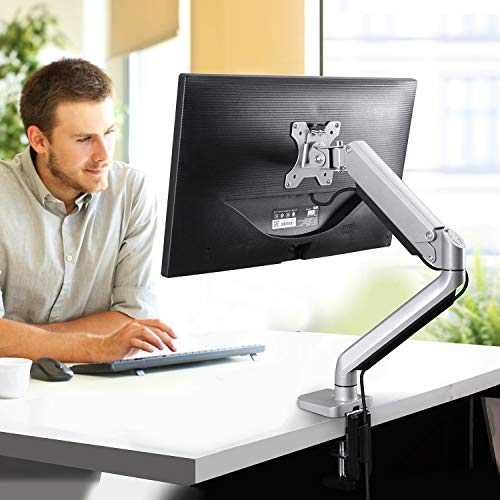 Single Monitor Mount Stand - Height Adjustable Gas Spring Single Arm Monitor Desk Mount Full Motion Swivel VESA Bracket Fit 17 to 32 Inch Computer Screen, Hold up to 17.6lbs