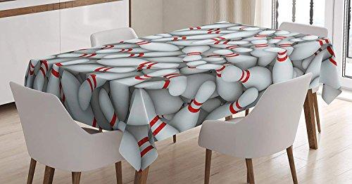 LIS HOME Bowling Party Tischdecke, Stapel von lebendigen Bowling Pins und Kegel mit roten Streifen 3D Style Print, rechteckige Tischdecke für Esszimmer Küche Dekor, weiß rot