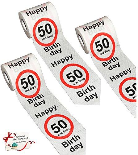 alles-meine.de GmbH 3 Stück Rollen _ Toilettenpapier -  50. Geburtstag / fünfzig und Sexy - Happy Birthday  - WC Klopapier Klopapier - 28 m - Verkehrsschild - Geschenkartikel -..