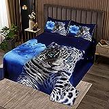 Loussiesd Leopard Bettüberwurf Blaue Blume Tagesdeck 220x240cm Wohndecke für Kinder Jungen Mädchen Kinder Safari Gepard Drucken Steppdecke Kissenbezug Set Wildtier Thema Galaxis Zimmerdekoration