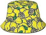 KEROTA Sombrero de pescador con estampado de limón amarillo, sombrero de pescador, protección solar al aire libre, para pesca de viaje, unisex.