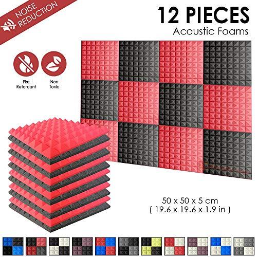 Super Dash Kombination (12 Pack) von 50 X 50 X 5 cm Rot & Schwarz Pyramide Akustikschaumstoff Noppenschaumstoff Akustik Dammmatte Schallisolierung Schaumstoff Polster Fliesen SD1034 (ROT & SCHWARZ)