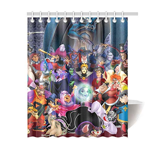 Amknu Disney Villain Bathroom Waterproof Shower Curtain Decorative Polyester Fabric Waterproof Microfiber Bathroom Shower Curtain Including 12 Plastic Hooks 71x71 inches