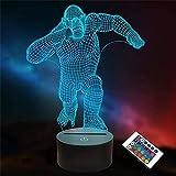 Gorilla Monkey King Kong - Lámpara de ilusión 3D, 16 colores, cambio automático, decoración de escritorio, regalo de cumpleaños con mando a distancia