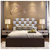ONEK-DECCO Cabecero de Cama tapizado en Polipiel de Dormitorio Mod. Kansas Patchwork 2 Colores, Acolchado de Espuma Varias Medidas, Cama de niño, Juvenil y Matrimonio (135X70, Blanco-Negro)