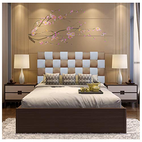 ONEK-DECCO Cabecero de Cama tapizado en Polipiel de Dormitorio Mod. Kansas Patchwork 2 Colores, Acolchado de Espuma Varias Medidas, Cama de niño, Juvenil y Matrimonio (150X70, Blanco-Dorado)
