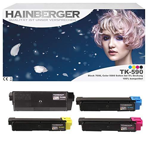 4x Hainberger Toner für Kyocera TK590 Black, Cyan, Magenta, Yellow für ECOSYS M6526cdn / FS-C5250DN / ECOSYS P6026cdn / FS-C2126MFP / ECOSYS M6026cdn / FS-C2026MFP / FS-C2626MFP / ECOSYS M6526cidn / FS-C2526MFP / ECOSYS M6026cidn