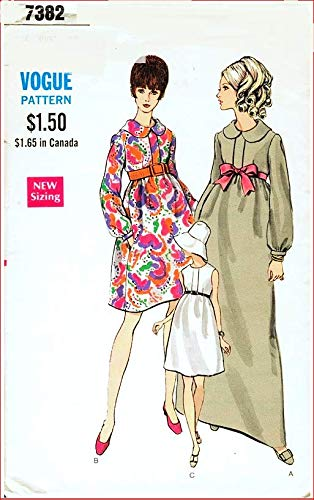 Vogue 7382 Misses' High Waisted Flared Maternity Dress Vintage Sewing Pattern Check Listings for Size