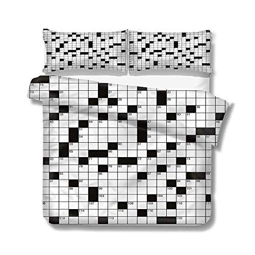 jonycm beddengoed 3-delig woord zoeken puzzel klassieke verborgen rits kinderen tieners gedrukt quilt cover volwassenen dekbedovertrek set slaapzaal huis mooie zacht kleurrijk