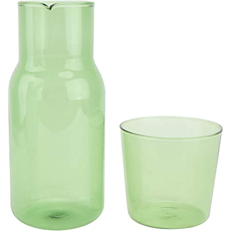 Monland Water Carafe with Tumbler Glass Cold Hot Water Bottle Cup Sets Bedside Water Pitcher High Temperature Resistance Bottle