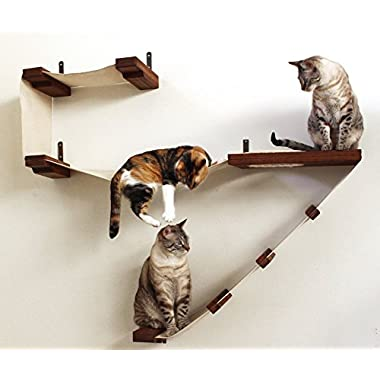 CatastrophiCreations Deluxe Cat Playplace Hammock Climbing Activity Wall-Mounted Cat Tree, English Chestnut