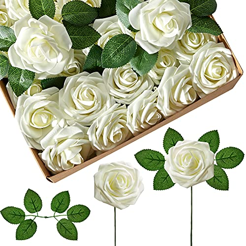 InnoGear Artificial Flowers, 25 Pcs Faux Flowers Fake Flowers Ivory Roses Perfect for DIY Wedding Bouquets Centerpieces Bridal Shower Party Home Flower Arrangement Decorations