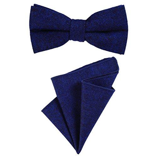 DonDon Papillon da uomo 12 x 6 cm di dimensioni regolabili abbinato a un fazzoletto da taschino 23 x 23 cm colorato in cotone blu