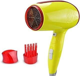 Mini secador de pelo 1600W plegable secador de pelo, viaje portátil 6 archivos ajustable caliente y frío del hogar del viento secador de pelo de la herramienta de cuidado del cabello (amarillo)