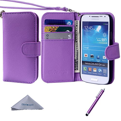 S4 Mini Case, Wisdompro Premium PU Leather 2-in-1 Protective Folio Flip Wallet Case with Credit Card Holder Slots and Wrist Lanyard for Samsung Galaxy S4 Mini (NOT S4 FIT) - Purple