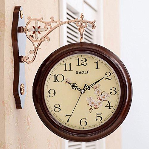 Meters Horloges murales recto-verso Salle de séjour créative Horloges mous élégantes ( Couleur : Café couleur )