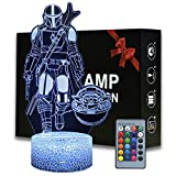 3D Illusion Mandalorian Baby Yoda Night Light, Bedside Lamp with Remote Control Kids Bedroom Decorate Lighting, Mandalorian 3D Lamp for Star Wars Fans (MDL)