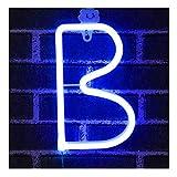 Blu Segni di lettera al neon luce di notte LED Marquee lettere al neon arte luci decorative decorazione della parete per i bambini Baby Room decorazione della festa nuziale di Natale (B)