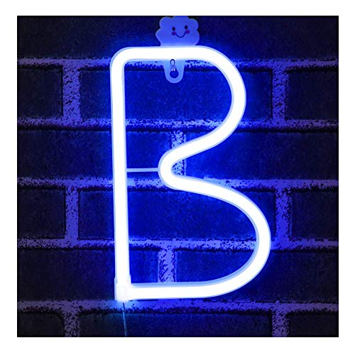 Bleu Néon Lettre Signes Nuit Lumière LED Marquee Lettres Néon Art Décoratif Lumières Mur Décor pour Enfants Chambre De Bébé De Noël Fête De Mariage Décoration (B)