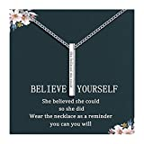 Graduation Gifts for Her Silver Inspirational Necklace for Women Engraved 'She Believed She Could So She Did' Jewelry for Girls Teens Daughter Sister Best Friend