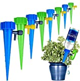 16 Pack Self Watering Spikes, Slow Release Control Valve Switch Automatic Irrigation Watering Drip System, Adjustable Water Volume Drip System for Outdoor and Vacation Plant Watering(8 Green & 8 Blue)