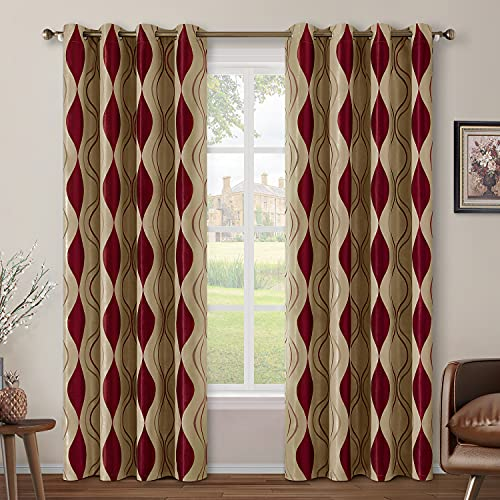 HOMEIDEAS Wave Room Darkening Curtains 52 X 84 Inch Long Burgundy and Beige Set of 2 Panels Bedroom Curtains/Drapes,Jacquard Grommet Window Curtains for Living Room
