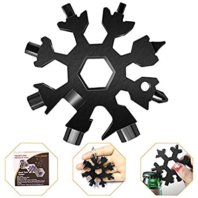 18-in-1 Snowflake Multi Tool, Portable Stainless Steel Snowflake Bottle Opener/Flat Phillips Screwdriver Kit/Wrench, Durable and Exquisite Christmas Gift (Standard, Stainless Steel) (Black)