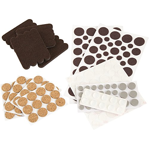 softtouch Round Pads, Strips, Bumpers Combo Pack, Self Stick Felt Pads for Hard Surfaces (236 Pack)