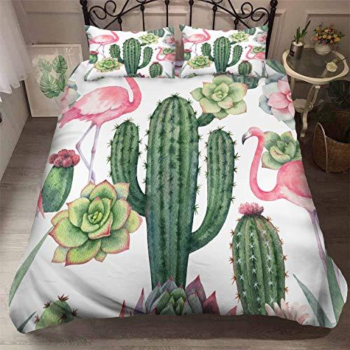 Smile Ensemble de 3 pièces Haut de Gamme personnalisé avec Housse de Couette Rainforest, Cactus Flamingo Taie d'oreiller ne Se décolore Pas, Vert Microfibre Comfort,01,King90.5×89.8in