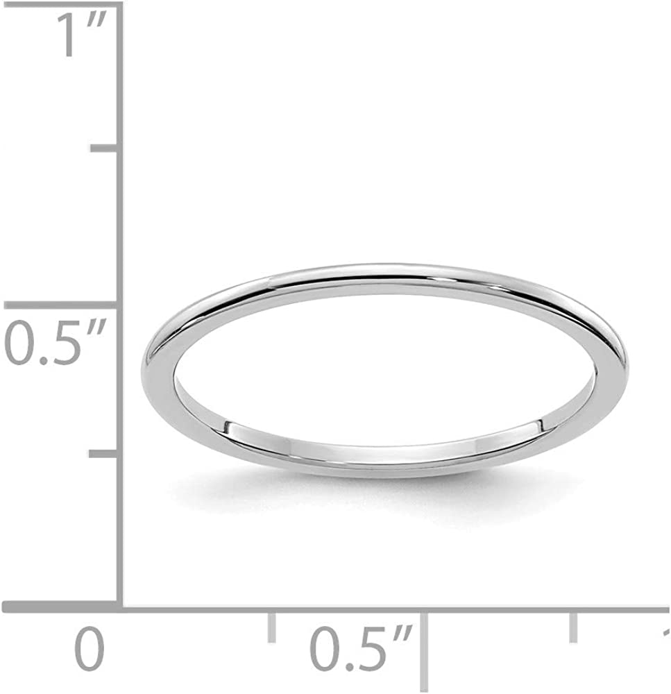 10k White Gold 1.2mm Half Round Stackable Wedding Ring Band Size 5.00 Classic Fine Jewelry For Women Gifts For Her