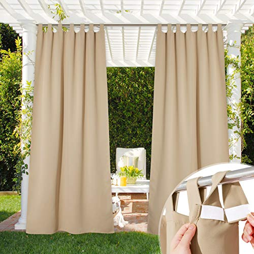 NICETOWN Thermal Insulated Patio Door Curtain Waterproof, Room Darkening Sticky Tab Top Light Block Thermal Insulated Outdoor Curtain Drape for Front Porch, Biscotti Beige, 1 Piece, W52 by L95