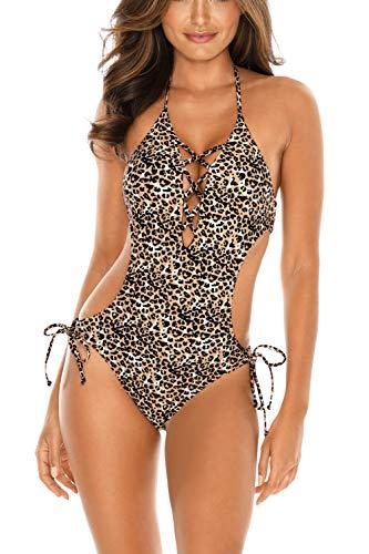 RELLECIGA Damen Bademode Monokini Badeanzug Schnürchen Leopard L