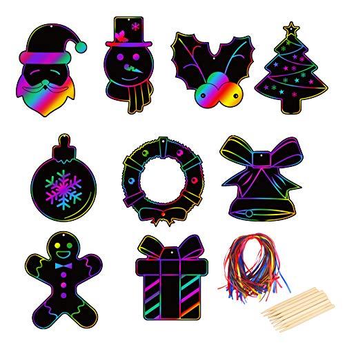 Scratch Art Navidad CHIFOOM 9pcs Hojas de Rascar Papel Manualidades 9 Estilos Plantillas Navideñas 4pcs Lápices para Dibujar Papa Noél/Sombrero/Calcetín de Navidad/Muñeco de Nieve para Niños