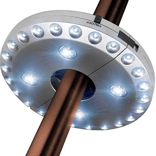 Txian Cordless 28 LED Umbrella Lights 3 Level Dimming Parasol LED Light Umbrella Pole Patio Tents Lighting Pure White Light Campsite Hanging Lamp
