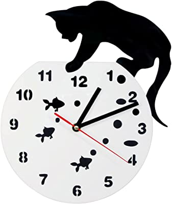 The Geeky Days Cat On A Fishbowl Adorable Wall Watch Art Wall Clock Cat and Fish